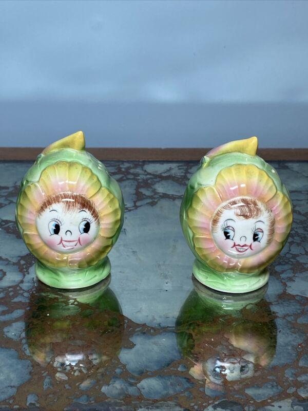 PY Japan Anthropomorphic Cabbage Rose Salt & Pepper Shakers Kitsch Vintage