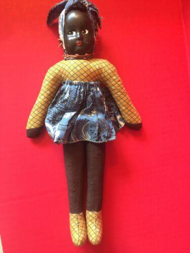 Vtg.  Black Americana Cloth Fabric Doll Plastic Face - Earrings -Marked Poland