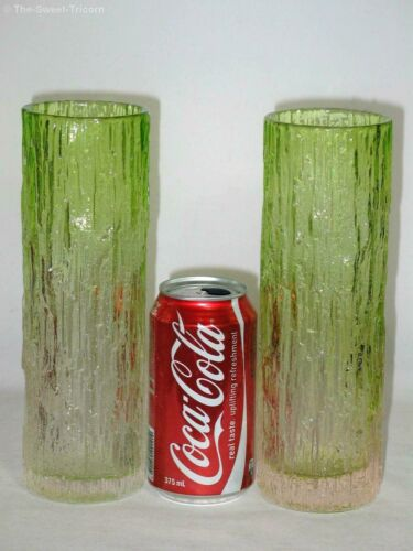 Pair Retro 1960s Green & Clear Textured Bark Glass Vase by OTK Japan. Excellent