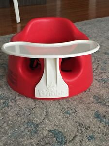 Red bumbo chair with tray - excellent condition