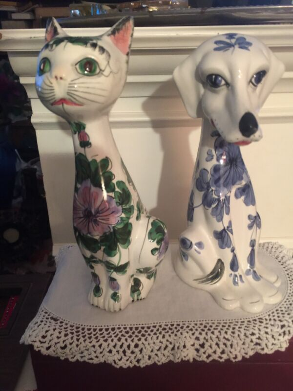 Collectible Ceramic Hand Painted Cat &Dog Figurines~ Made In Italy