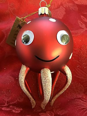 NEW FLAWLESS Exceptional PIER 1 IMPORTS Glass Red OCTOPUS Christmas Ornament