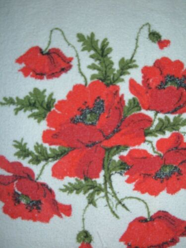 VINTAGE TABLECLOTH RED FLORAL POPPIES TERRYCLOTH
