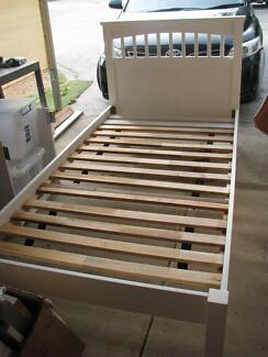 single bed solid timber white single bed