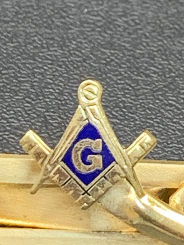 Vintage Masonic Level G BLUE ENAMEL Tie Clip Gold Tone SIGNED anson