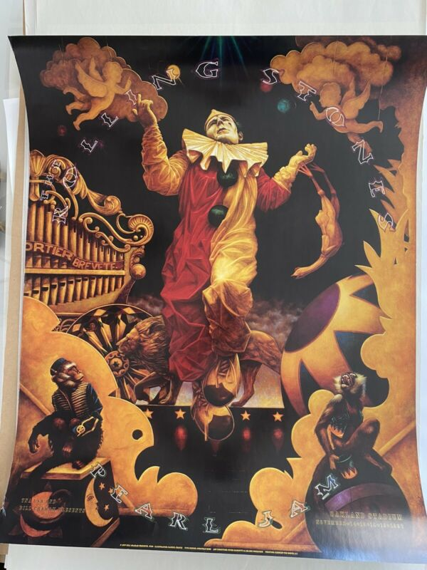 Rolling Stones and Pearl Jam 1997 Concert Poster Oakland Original