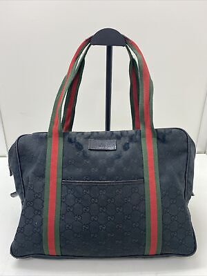Authentic vintage Gucci GG canvas black leather sherry hand tote shoulder bag