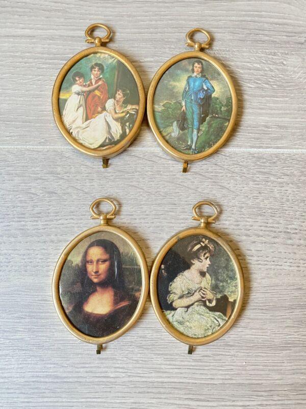"VTG gold plastic 4 link oval frames small tiny 2.75"""