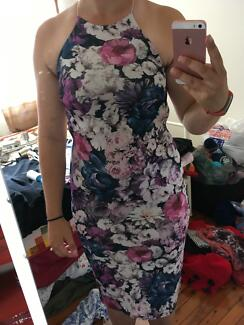 Missguided floral wiggle backless dress