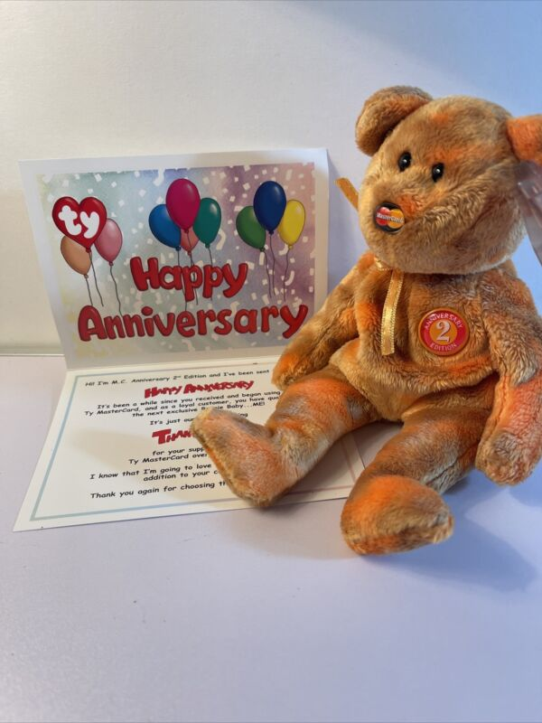 Ty BEANIE BABY-  M.C. ANNIVERSARY BEAR 2ND EDITION  (MBNA Exclusive) New W/ Tags