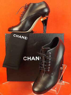 15C NIB CHANEL BLACK LEATHER LUCITE PEARL HEEL LACE UP ANKLE BOOTS 39 $1675