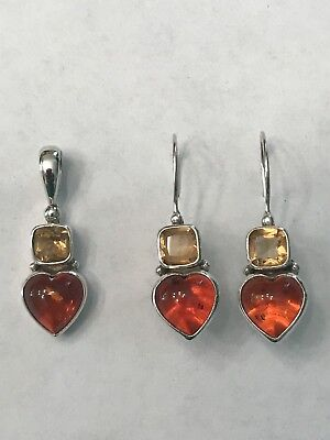 POLISHED STERLING SILVER AMBER & CITRINE HEART PENDANT/FRENCH WIRED EARRINGS SET