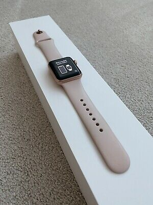 Apple Watch Series 3 38mm Rose Gold, Al Case Pink Sand Sports Band GPS + Cell