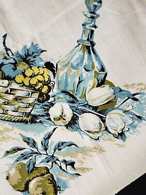 """Vintage Tablecloth Linen Printed Grapes Kitchen Floral 54x70"""" Vibrant 1960s NEW"""