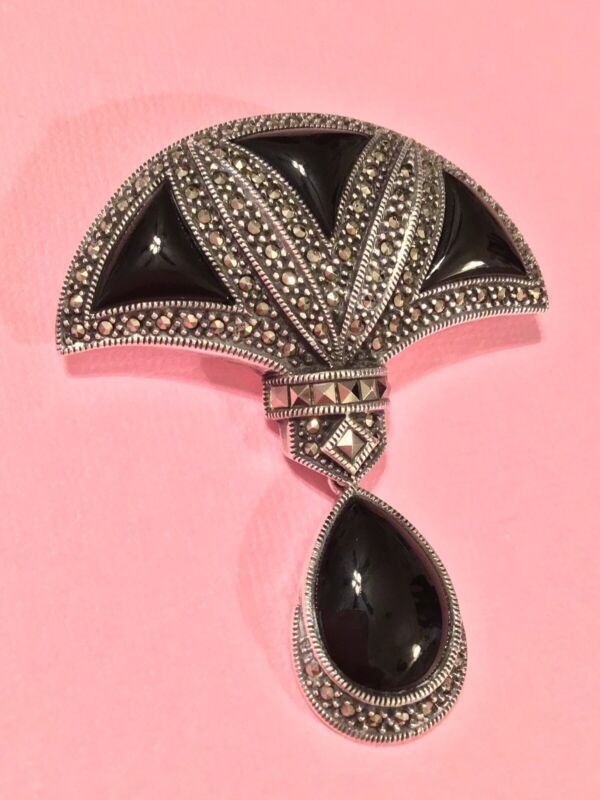 Judith Jack Signed Retro 2000 Sterling Silver Onyx Marcasite Brooch Fabulous!