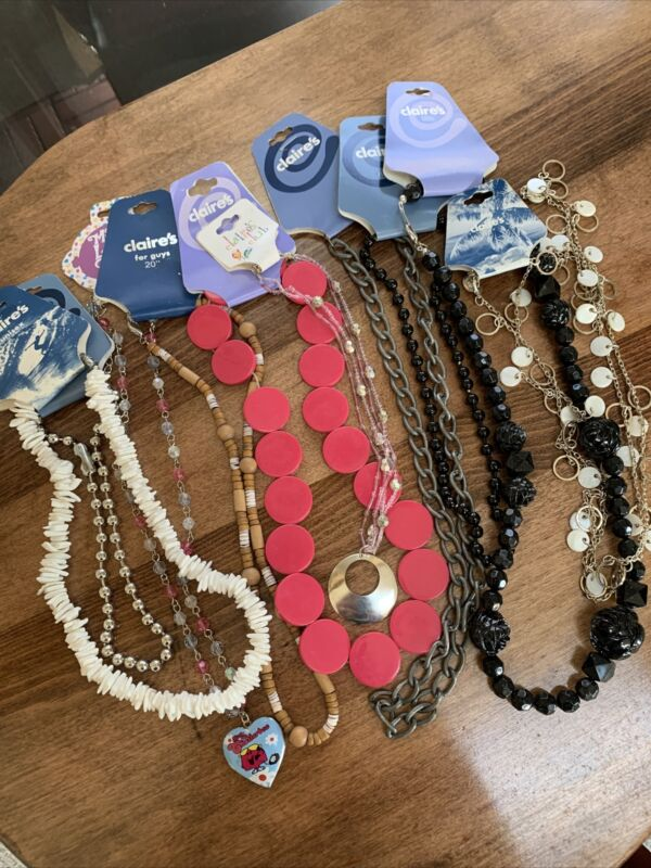 Claire's Jewelry Lot Of 10 Necklace Various Styles Lengths Necklaces New C5