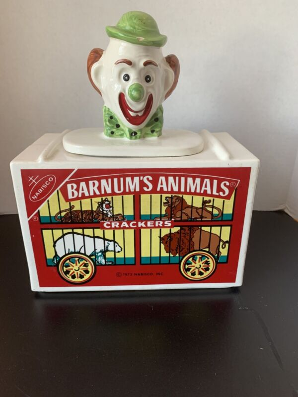 "Nabisco Barnum""s Animals Crackers Clown Cookie Jar Circus"