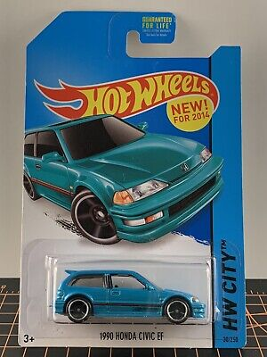 2014 Hot Wheels HW City 1990 Honda Civic EF Teal Blue Green