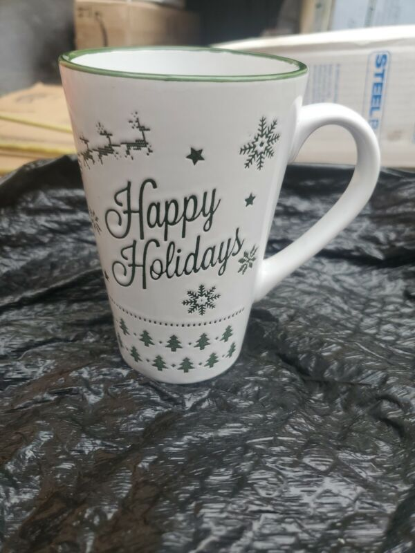 Tall Happy Holidays Christmas Coffee Mug Designpac  Snowflakes, Trees, & Deer