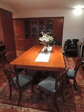4 Balloon Back Turned Timber Dining Chairs with Blue Upholstery Peakhurst Hurstville Area Preview