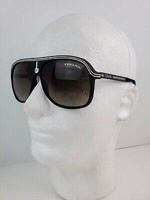 Vintage 1980's Ferrari Aviator Sunglasses Black Frame w/ white lines metal (White Frame Aviators)