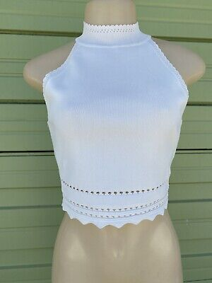 NWD ZARA WHITE CROPPED KNIT Top HIGH NECK PERFORATED TRIMS SLEEVELE Size M #2164