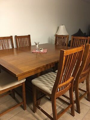 Oak Dining Table and Chairs (7) - Oak Tables And Chairs