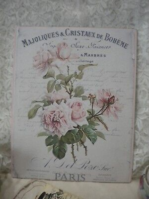 "Shabby Chic Aged French / PARIS  Roses Plaque 8"" x 10"""