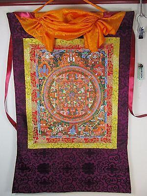 altes Buddha Seide Thangka Gemälde 100 % handgemalt Einzelstück  Tibet 1970 97cm