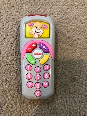 FISHER PRICE Girl TV Remote Control LEARN & LAUGH Toy lites & sound ABC # colors