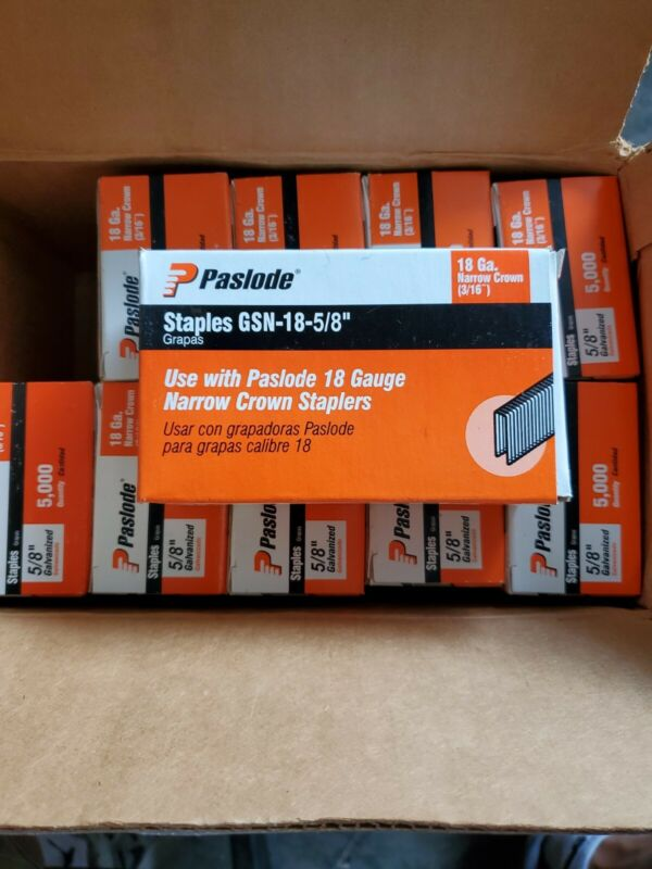 "Paslode GSN-18-5/8""  Case of 10 5K box=50K of 18 GA. Galv. Narrow crown staples"