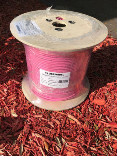 Cat6A Riser CMR 1000ft LS PVC Pink 23AWG 10G 4 Pair Solid Bare Copper U/UTP LS