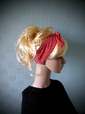 Red and white polka dot hair scarf, rockabilly 50's headband, fifties hair - Fifties Hair