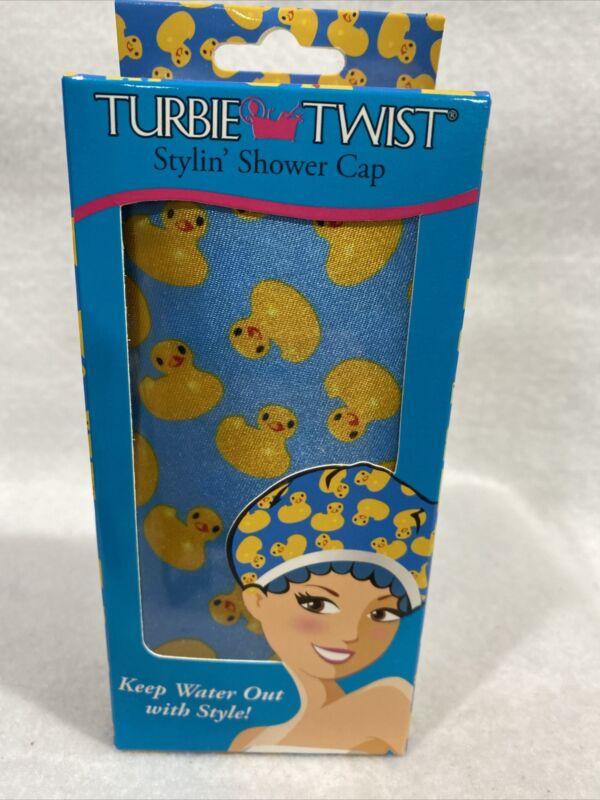 Turbie Twist Stylin Waterproof Shower Cap Ducky Duck Print New In Box