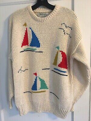 Rare Vintage Linen Blend Hand Crafted Intarsia Sweater Ireland Sz 42 L Sailboats