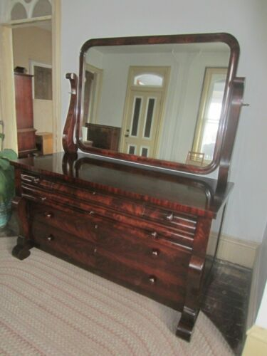 Antique Empire Flame Mahogany Dresser with Mirror Large VGC Beautiful