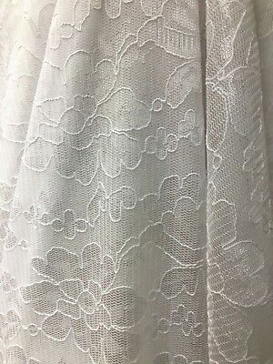 WHITE FLORAL STRETCH CORDED NET LACE FABRIC (54 in.) Sold By The -