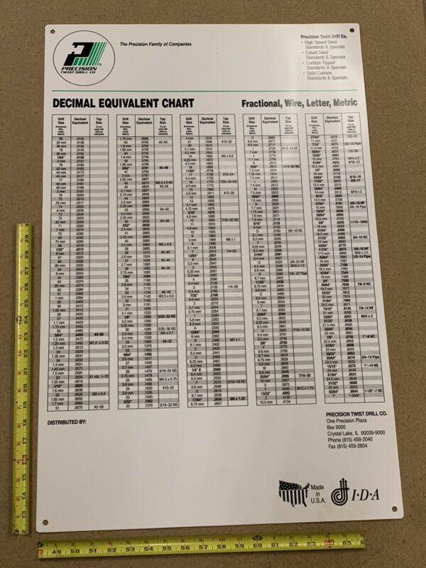 "Precision Brand Drill Size Conversion Wall Chart 31.5"" x 20.5"" 80cm x 52cm"