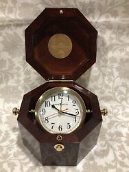 Howard Miller 645-187 Chronometer Maritime Table/Desk Alarm Clock Octagonal Box