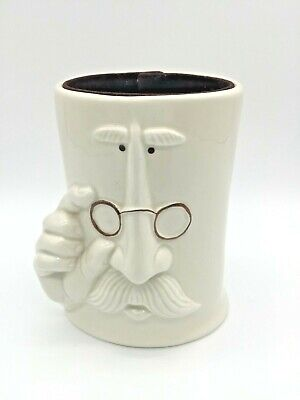 Pencil Cup Ceramic 5 T Off White Man Glasses Mustache Vintage Office Quirky