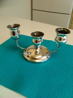 English Silver Plated Squat 3 Sconce Candelabra (493)