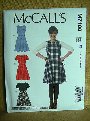 MCCALLS PATTERN  7188 DRESSES   MISSES SIZES 14 16 18 20 22  UNCUT