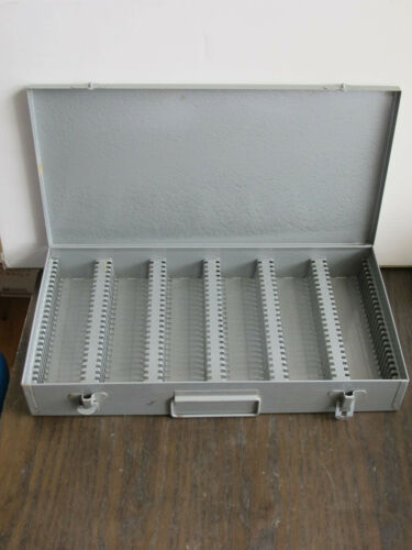 Vintage Solid Metal Case for Microscope Glass Slides - 150 Pieces Storage