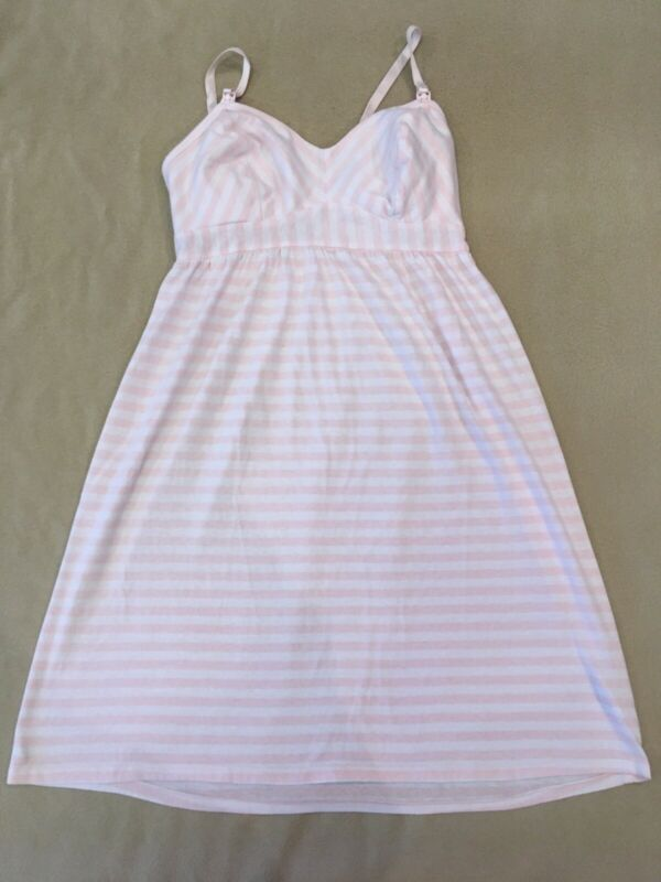 Bump In The Night Nursing Nightgown Small Womens Pink Striped Breastfeeding