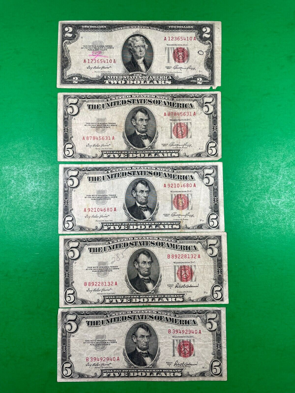 2 Red Seal Note And Four 5 Red Seal Notes - Series 1953 - $30.00