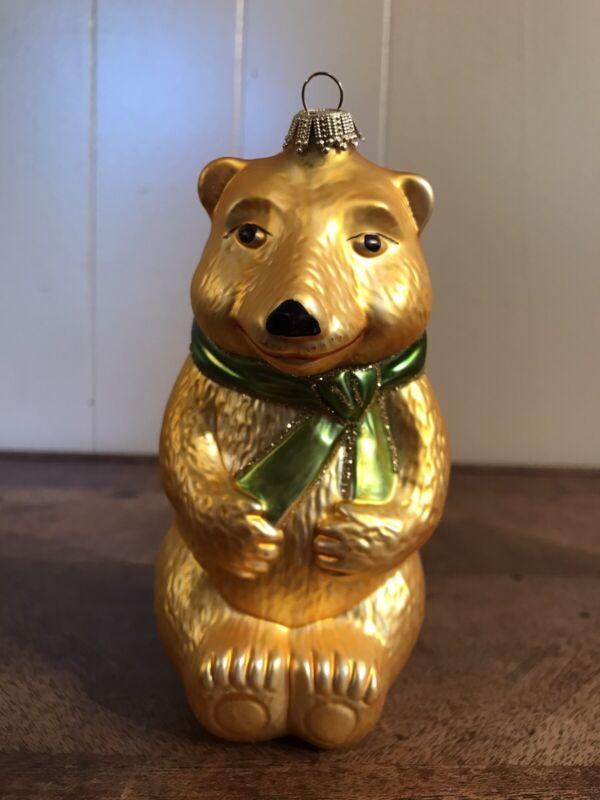 Krebs Glas Lauscha Bear Christmas Ornament Blown Glass Germany Super Sweet