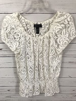 INC Women's White Lace Short Sleeve Cinched waist Top Size XL