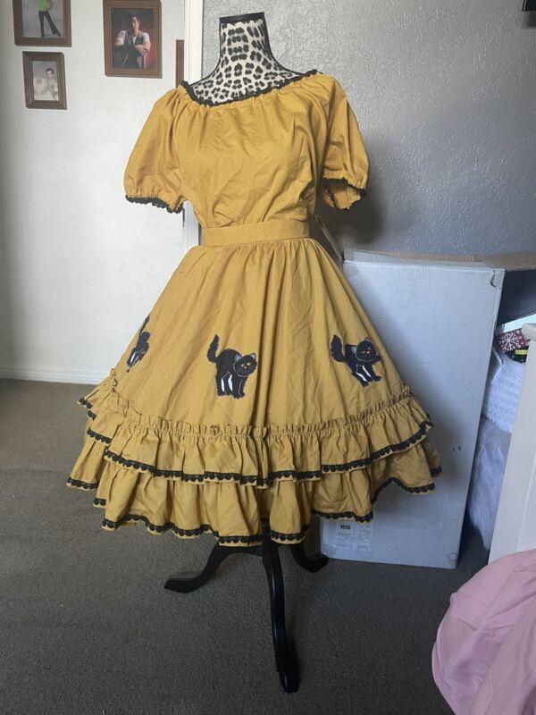 Mustard Black Cat Square Dance Dress