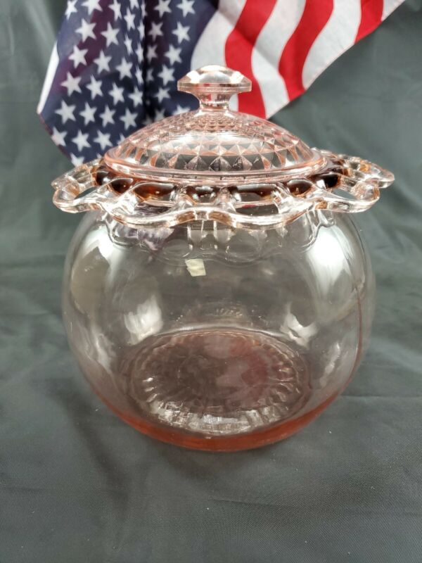 """Vintage Beautiful Art Deco Pink Rose Depression Glass Lidded Canister 7"""" Tall"""