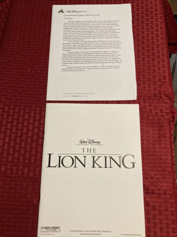 The Lion King Large Format Rerelease Pressbook And Preview Letter 2002